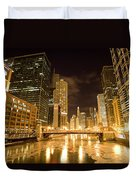 Chicago Downtown City  Night Photography Duvet Cover