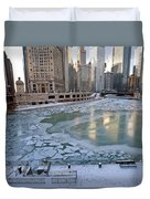 Chicago Downtown City  Night Photography Wrigley Square Duvet Cover