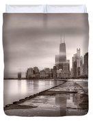 Chicago Foggy Lakefront Bw Duvet Cover by Steve Gadomski