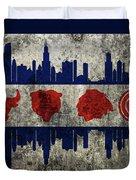 Chicago Grunge Flag Duvet Cover