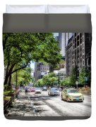 Chicago Hailing A Cab In June Duvet Cover