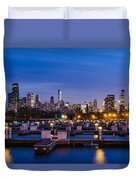 Chicago Harbor View At Night Duvet Cover