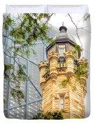 Chicago Historic Water Tower Fog Duvet Cover