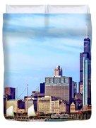 Chicago Il - Schooner Against Chicago Skyline Duvet Cover