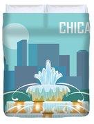 Chicago Illinois Horizontal Skyline - Buckingham Fountain Duvet Cover