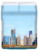 Chicago Illinois Skyline Painterly Triptych Plate Three Of Three 20180516 Duvet Cover