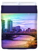 Chicago In November Chicago River South Branch Pa Rainbow 02 Duvet Cover