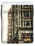 Chicago In November Oriental Theater Signage Vertical Duvet Cover