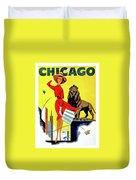 Chicago, Lion, Shopping Woman Duvet Cover