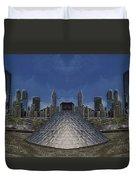 Chicago Millennium Park Bp Bridge Mirror Image Duvet Cover