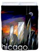 Chicago Night Skyline Duvet Cover