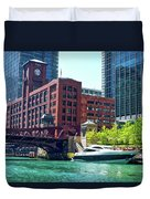 Chicago Parked By The Clark Street Bridge On The River Duvet Cover