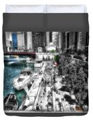 Chicago Parked On The River Walk 03 Sc Duvet Cover