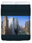 Chicago River, Aerial Shot, Illinois Duvet Cover