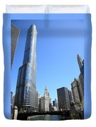 Chicago River And Skyline Duvet Cover