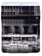 Chicago River Boats Bw Duvet Cover