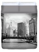 Chicago River Buildings Skyline Duvet Cover by Paul Velgos