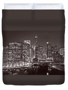 Chicago River Panorama B W Duvet Cover