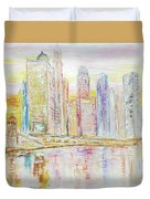 Chicago River Skyline Duvet Cover