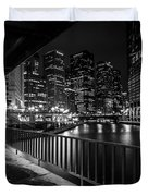 Chicago River View In Black And White  Duvet Cover