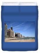 Chicago Skyline And Beach Duvet Cover