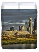 Chicago Skyline And Nature Preserve At Sunrise Duvet Cover