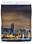 Chicago Skyline At Night Panorama Color 1 To 3 Ratio Duvet Cover