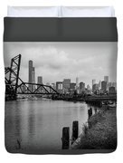 Chicago Skyline From The Southside In Black And White Duvet Cover