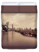 Chicago Skyline From The Southside With Red Bridge Duvet Cover