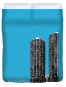 Chicago Skyline Marina Towers - Teal Duvet Cover