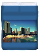 Chicago Summer Skyline At Oak Street Beach Duvet Cover