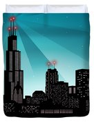 Chicago Skyline Duvet Cover by Sandra Hoefer