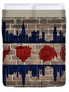 Chicago Sports Team Flag On Brick Duvet Cover
