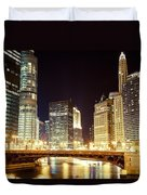 Chicago State Street Bridge At Night Duvet Cover by Paul Velgos