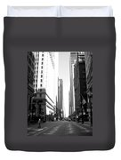 Chicago Street With Flags B-w Duvet Cover