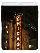 Chicago Theater At Night Duvet Cover