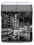 Chicago Theater In Black And White Duvet Cover