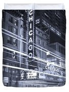 Chicago Theater Marquee B And W Duvet Cover