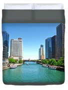 Chicago Tour Boats Parked On The River Duvet Cover