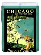 Chicago, Vacation City, Areal View On The Beach Duvet Cover