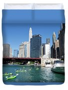 Chicago Watching The Kayaks On The River Duvet Cover