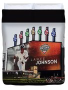 Chicago White Sox Lance Johnson Scoreboard Duvet Cover