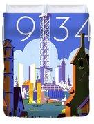 Chicago, World Fair, Vintage Travel Poster Duvet Cover