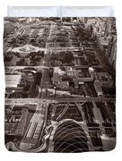 Chicagos Front Yard B W Duvet Cover
