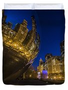 Chicago's Millenium Park At Dusk Duvet Cover