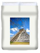 Chichen Itza And Tree Duvet Cover