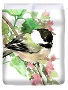 Chickadee And Spring Blossom Duvet Cover