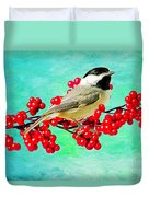 Chickadee And Winterberry Duvet Cover