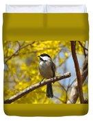 Chickadee In Spring Duvet Cover