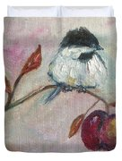 Chickadee On An Apple Tree Duvet Cover